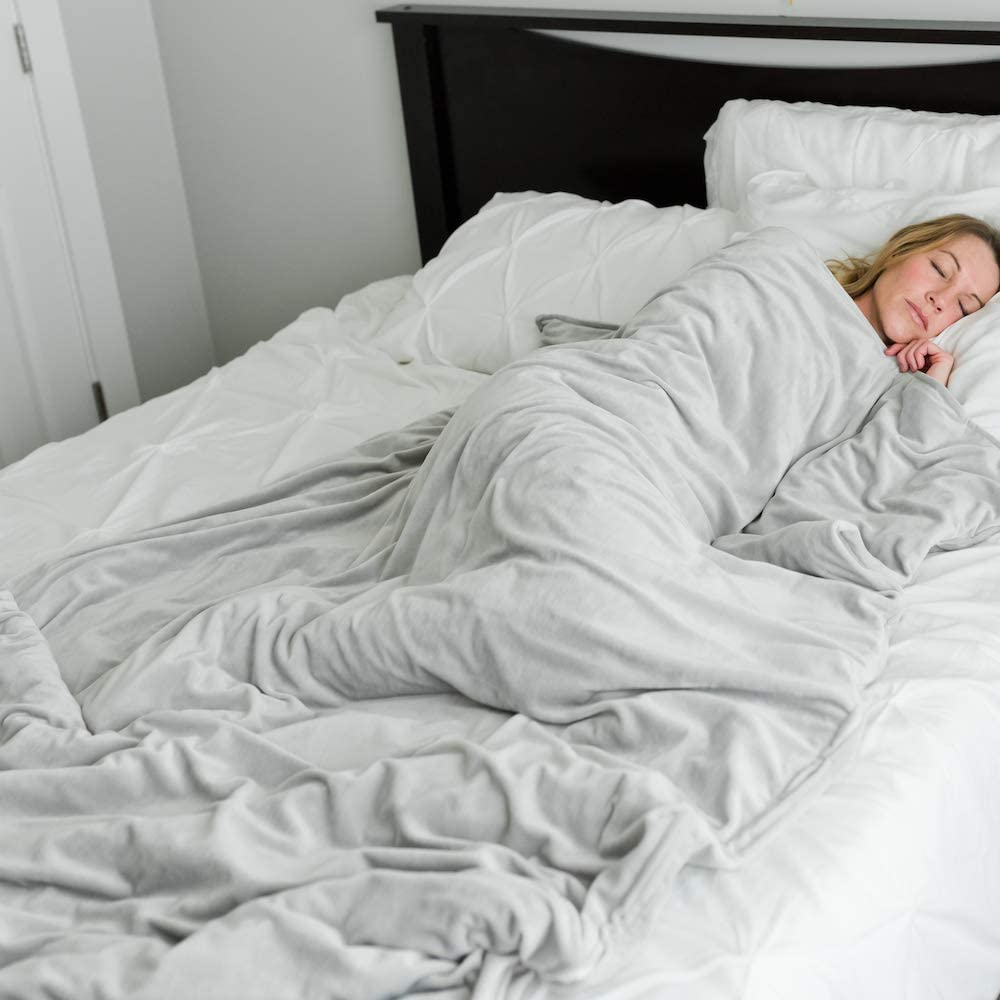 "Duvet Cover for Weighted Blankets for Teen 40"" x 60"" Minky Removable Duvet Cover Blanket (Gray, Medium 40"" x 60"")"