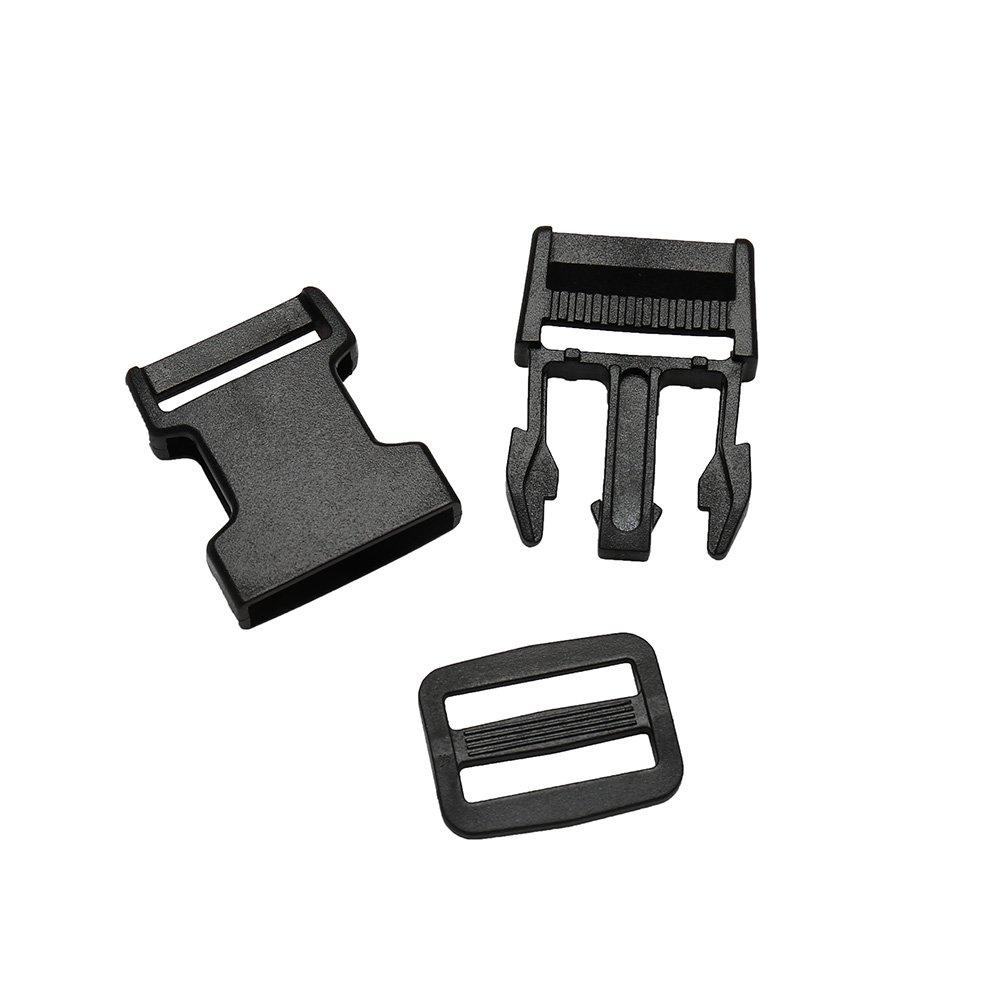 Mald fermeture webbing buckles clip 5 paires de sangles polypropyl/ène noir pour sac /à dos