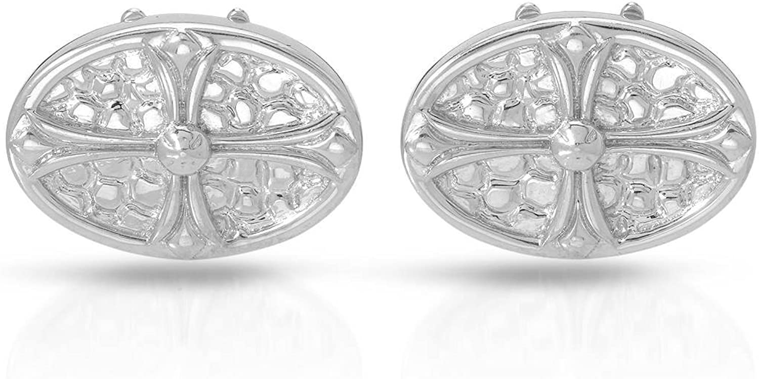 Length 23 mm. HELLMUTH Sterling Silver Cross Cuff Links For Men