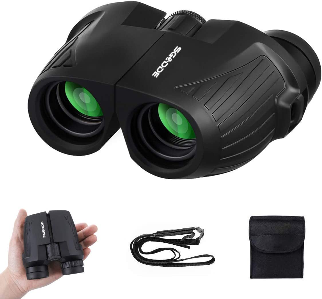 12×25 Compact Binoculars SGODDE Binoculars for Adults with Low Light Night Vision, Folding High Power Waterproof Binocular Easy Focus for Outdoor Hunting, Bird Watching,Traveling, Concert, Sport Games