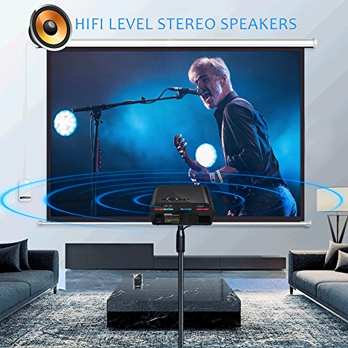 GooDee Portable Movie Projector 3200 Lumens 1280x800 Resolution LCD Max 280'' Home Theater Video Projector with HDMI Support 1080P VGA USB SD AV TV Laptop for Entertainment Game Party by GooDee (Image #1)