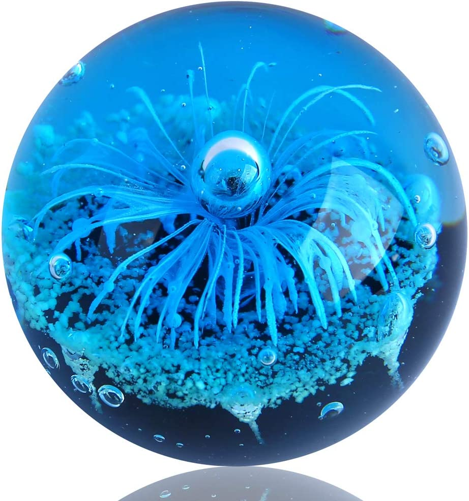 EUSTUMA Hand Blown Glass Blue Flower Sphere Figurine,Paperweight Glass Ball,Sea Plant Ornament for Fish Tank Aquarium,Sea Plant Collection for Birthday Gift,Glass Paperweight