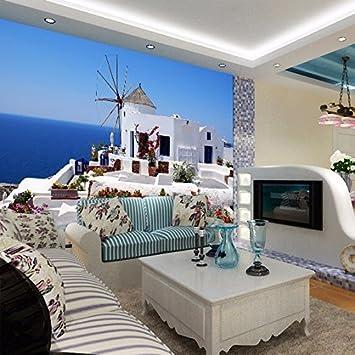 HUANGYAHUI Modern Minimalist Aegean Sea Mediterranean Scenery Beauteous Bedroom Home Office Minimalist Property