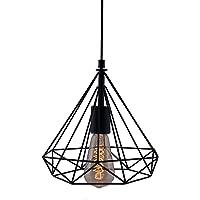 Groeien Edison Filament Diamond Cage Base E27 Hanging LED Bulb (ST64 Bulb Included, Black)