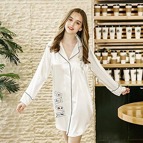 Camisa A Lady Wilrnd Verano color Pijamas Home White Simulación De White Seda Domicilio Sexy M Camisón Femenina Sentido Servicio Size wO8wq