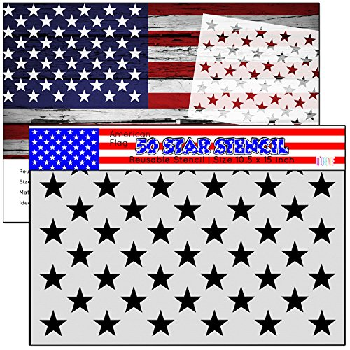 American Flag 50 STAR STENCIL for Painting on Wood, Fabric, Walls, Airbrush + More   Reusable G-SPEC 10.5 x 14.82 inch mylar Template (10.5 x 15)