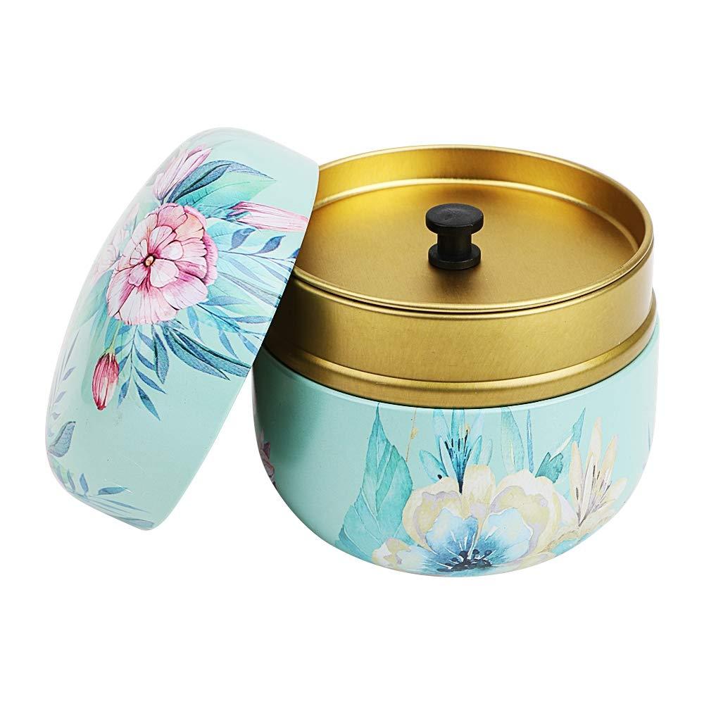 Color:Shallow wind JINYANG Tea Caddies HOOMIN Tea Box Tea Jar Storage Holder Tea Caddies Matcha Container Mini Coffee Powder Organizer Cans Multifunction Round Metal