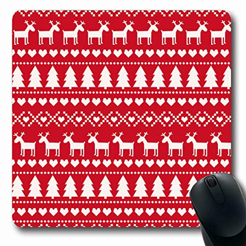Nordic Reindeer Sweater (Ahawoso Mousepads for Computers Wool Red Pattern Christmas Scandinavian Sweater Norway Holidays Xmas Noel Reindeer Nordic Design Oblong Shape 7.9 x 9.5 Inches Non-Slip Oblong Gaming Mouse)