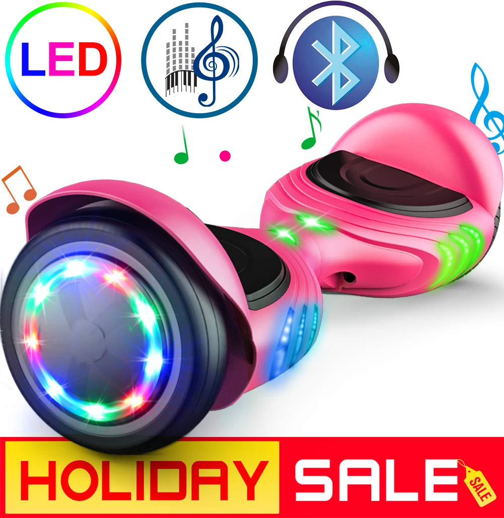 "TOMOLOO Hoverboard with LED Lights Two-Wheel Self Balancing Scooter with UL2272 Certified, 6.5"" Wheel Electric Scooter for Kids and Adult"