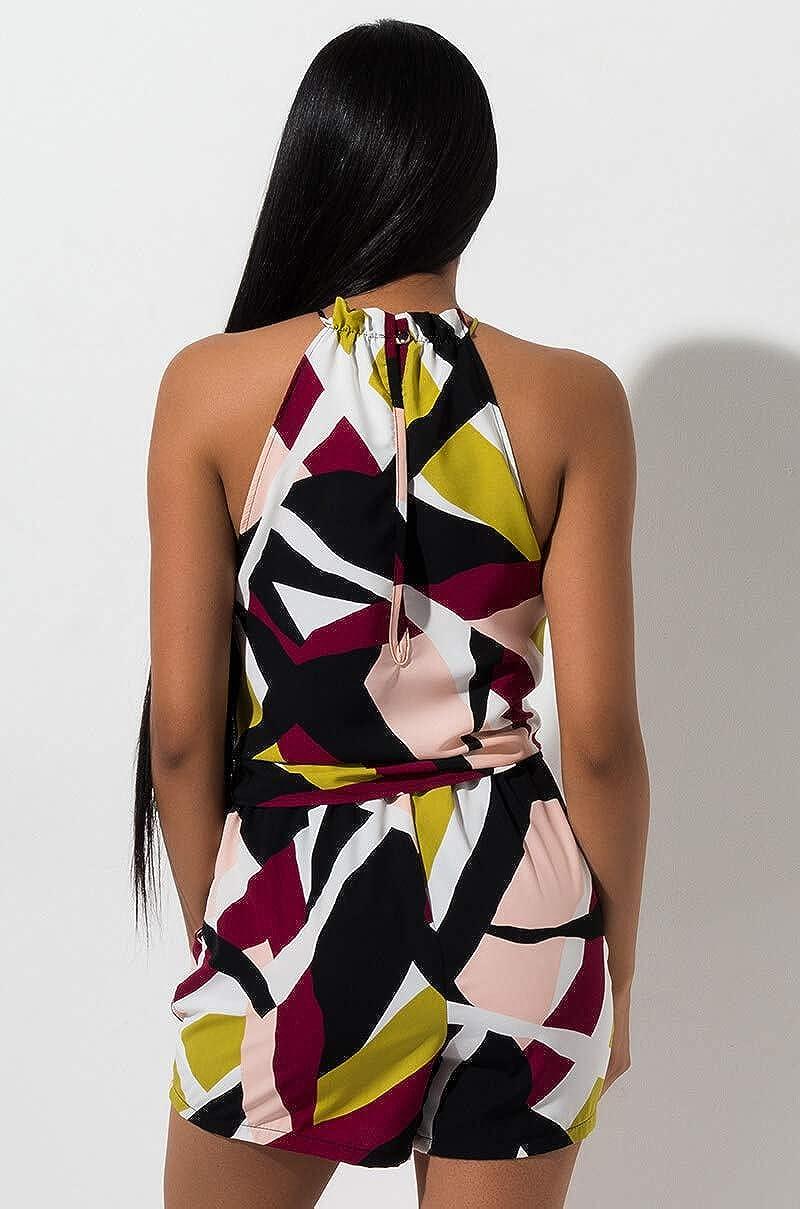 AKIRA Womens Abstract Geo Print High Neck Sleeveless Tie Waist Palazzo Romper