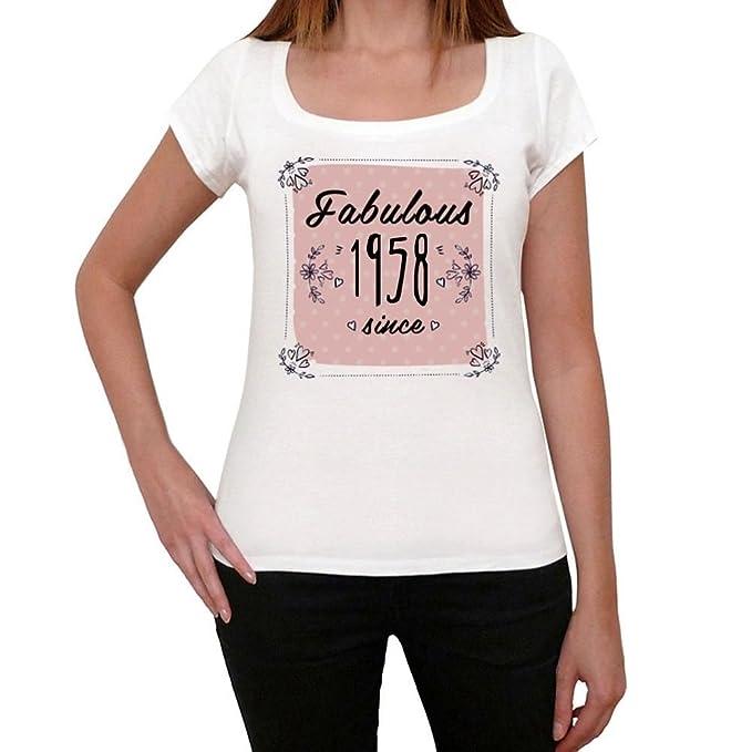 Fabulous Since 1958 Mujer Camiseta Blanco Regalo De ...