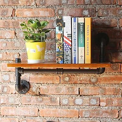 ZXZWJ Wall Mounted Loft American Retro Water Pipe Estilo Industrial Baffle Estante de Pared Creative sólido Madera Estante de Pared Soporte Soporte de ...