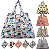 KINGMAS Reusable Grocery Bags, Set of 5 Eco-Friendly Folding Tote Shopping Bag fits in Pocket, Washable Waterproof Nylon Holds Heavy Groceries