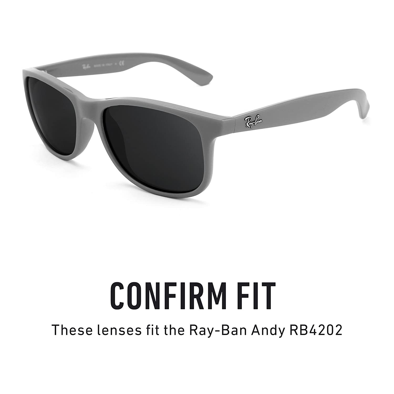 35927fb8e6bb Amazon.com: Revant Polarized Replacement Lenses for Ray-Ban Andy RB4202  Elite Black Chrome MirrorShield: Sports & Outdoors