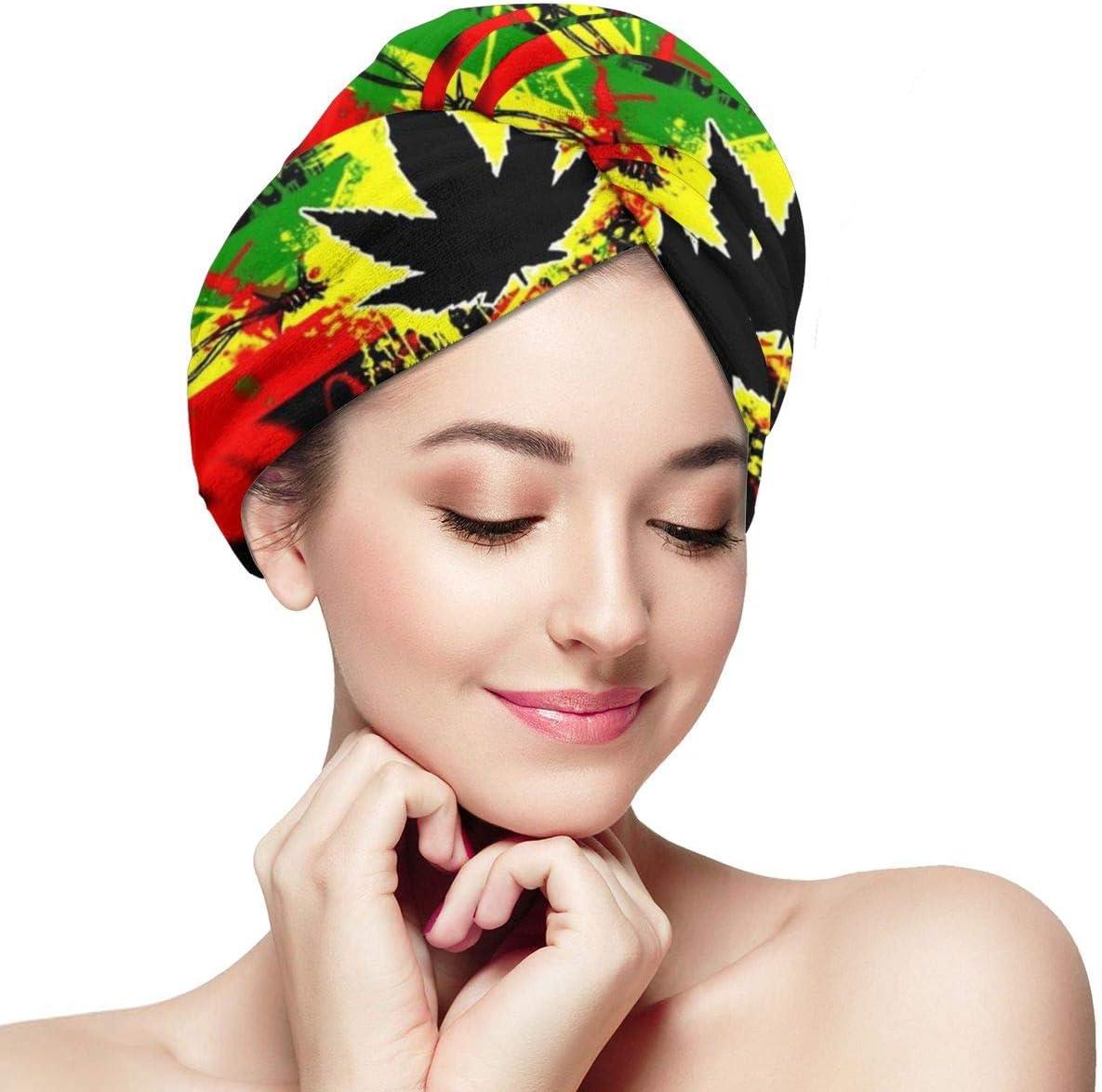 RTBB - Toallas de secado rápido para cabello seco y con hojas de marihuana y cannabis de marihuana negra superabsorbente, para damas y niñas, baño de spa