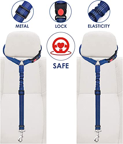 2 Pack Pet Car Seatbelt Headrest Restraint Adjustable Puppy Safety Seat Belt with Elastic Bungee and Reflective Stripe Connect with Dog Harness and Reflective Stripe Connect with Dog Harness Blue AutoWT Dog Seat Belt