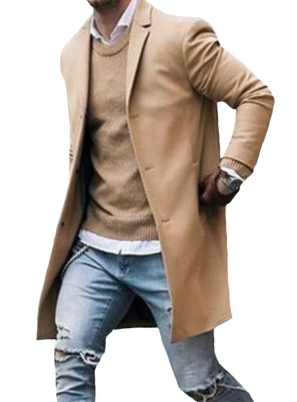 Men Winter Trench Coat Slim Fit Turn Down Collar Knit Cuffs Woolen Coat Business Jacket Overcoat Khaki by Folima