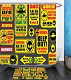 Beshowereb Bath Suit: Showercurtain Bathrug Bathtowel Handtowel Outer Space Decor Warning Ufo Signs with Alien Faces Heads Galactic Paranormal Activity Design Yellow