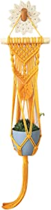Macrame Plant Hanger Indoor Outdoor,Decorative Wall Plant Holders for Hanging Plant Flower Pot Fish Bowl,Face Plant Decor Hanging Planter Basket,Wall Art Home Decor(Yellow)