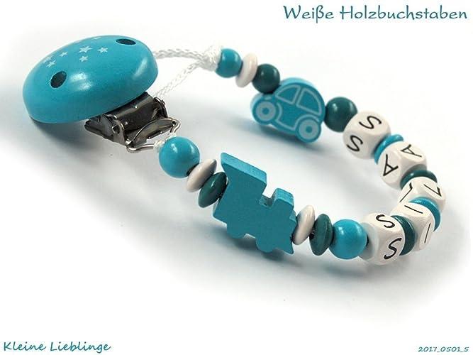 Schnullerkette mit Namen Lokomotive Auto Baby Schnullerhalter Junge blau Holz