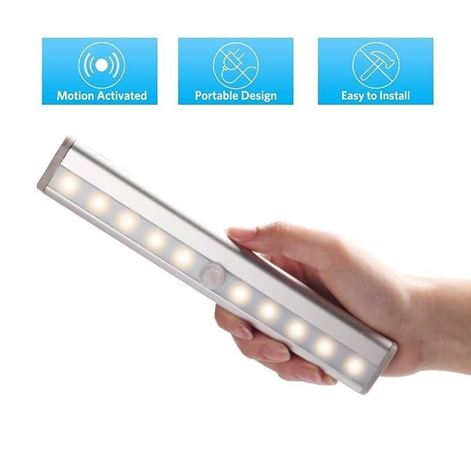 Stoog Luz LED Armario Pilas Alimentadas Lámpara Armario Sensor Movimiento 10 LED Lámpara de Noche Automático Iluminación Armario Gabinete Mueble Habitación ...