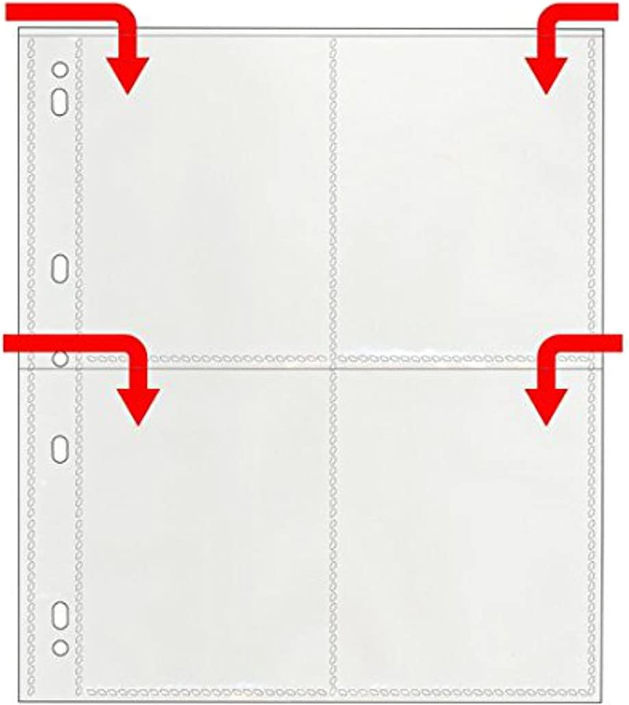 Archival-Plus Safe Plastic Photo Page for 3-Ring Binders Clear File Four 4 x 5 pockets Holds eight photos 25 Pack 340025B #34B