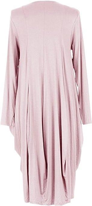 TEXTURE Ladies Womens Italian Lagenlook Plain Long Sleeve V Neck Viscose Jersey Draped Tulip Midi Dress One Size