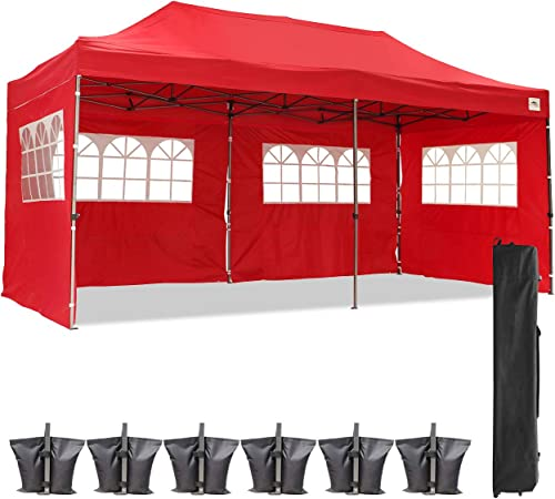 Diophros 10x20FT Pop up Canopy Tent, Instant Portable Folding Shelter Wedding Party Tent Outdoor Event Gazebos with 4 Removable Sidewalls Red