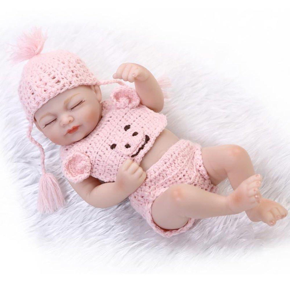 "decdeal 10 "" Lovely Rebornベビー人形、Like Real Life新生児Sleeping Baby Girl人形ギフトwithかわいいウール服、ピンク   B07DGVJ5SS"