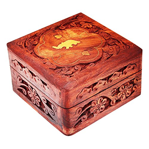 Carved Floral Box - Great Birthday Gift Ideas Handmade Decorative Wooden Jewelry Box Jewelry Organizer Keepsake Box Treasure Chest Trinket Holder Watch Box Storage Box 4 x 4 Inches Anniversary Gifts For Men & Women