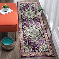Safavieh Monaco Collection MNC243L Vintage Bohemian Violet and Light Blue Distressed Runner (22 x 10)