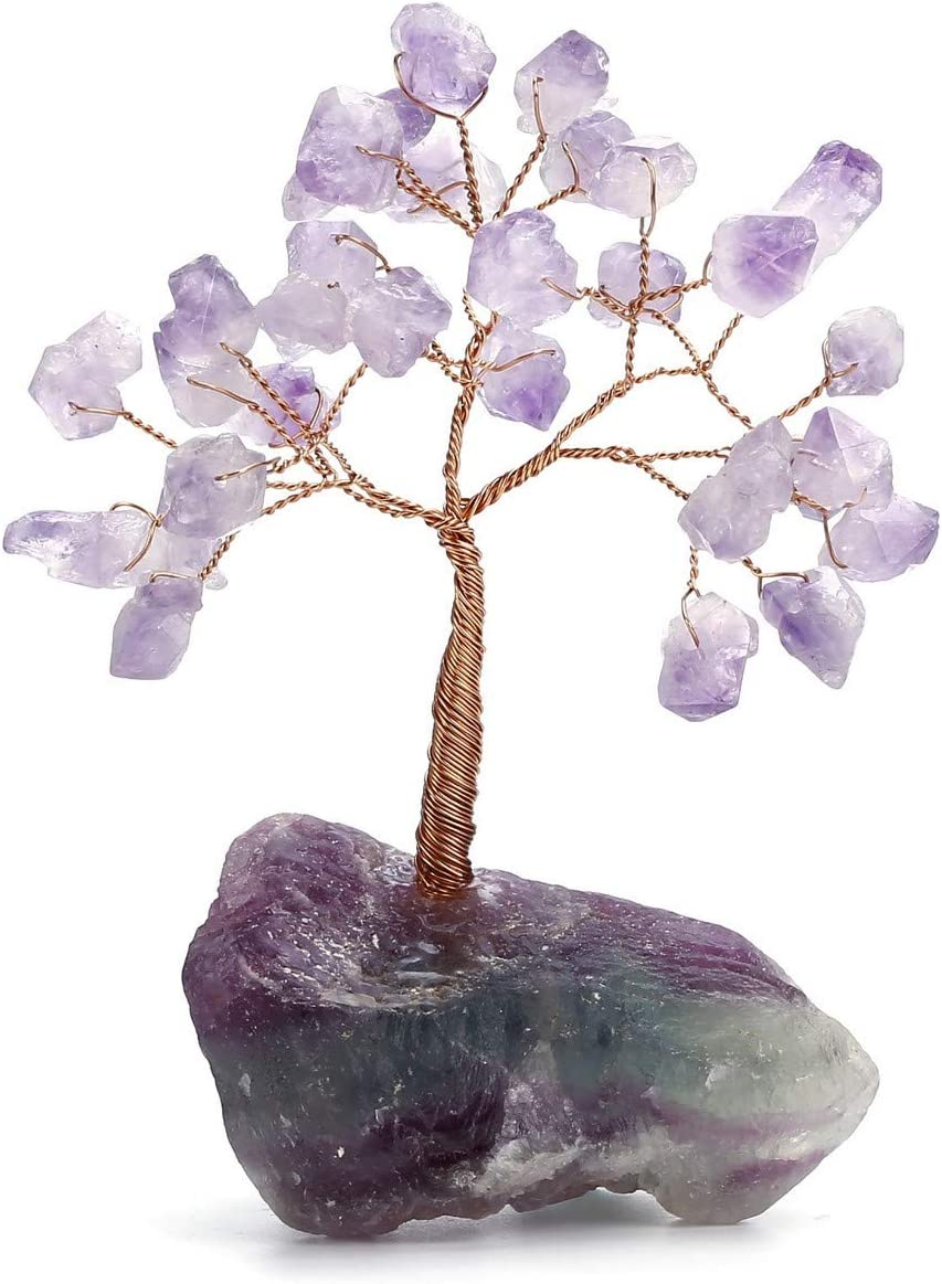 """Jovivi Natural Amethyst Gemstone Chakra Crystal Tree with Irregular Fluorite Crystal Base Feng Shui Money Tree for Home Office Decor or Positive Energy, Luck and Wealth 4.72""""-5.51"""""""