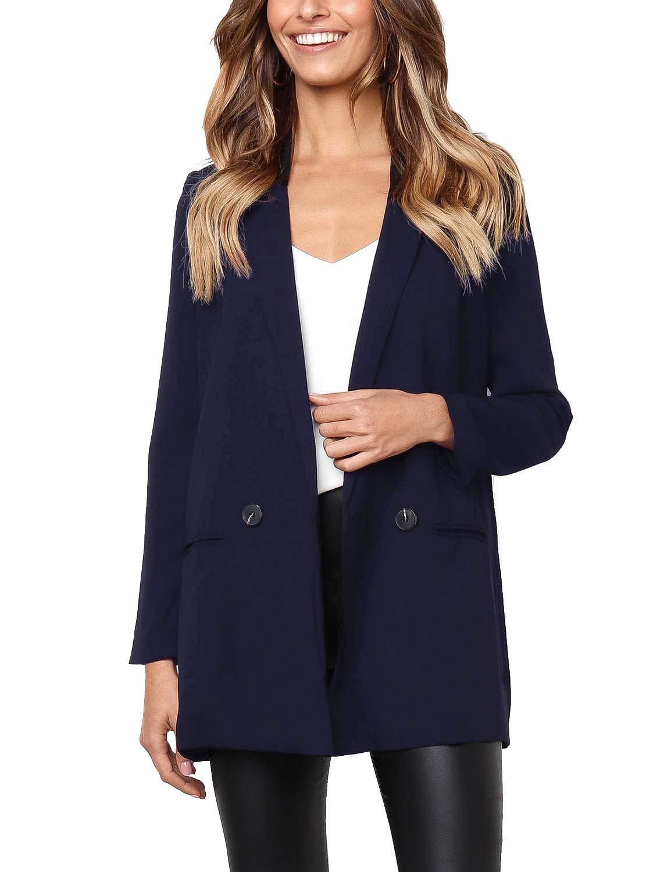 Lookbook Store Women's Casual Long Sleeve Blazer Jacket Open Front Lapel Blazer Navy Blue, Size L
