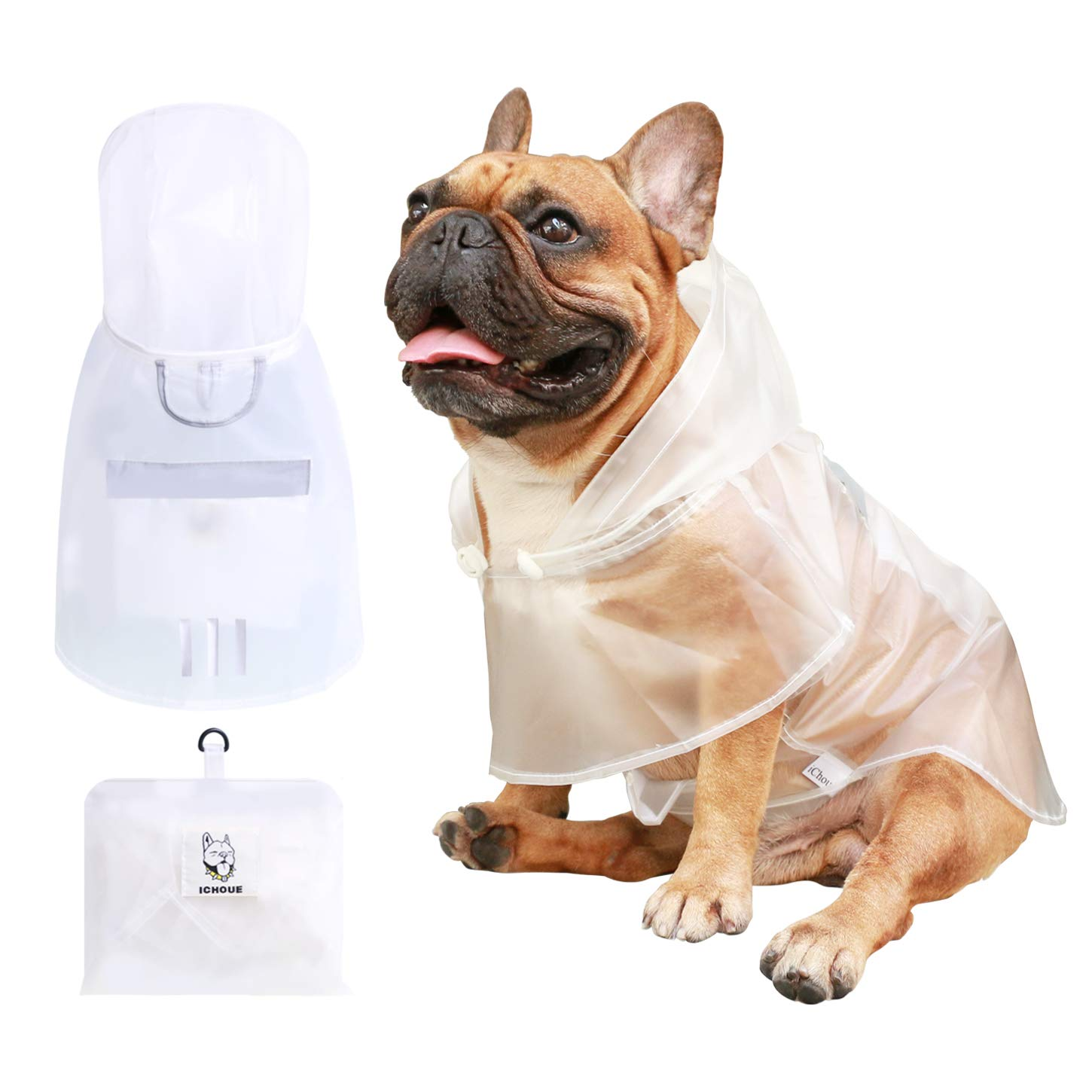 iChoue Dog Raincoat Packable Waterproof Adjustable with Reflective Straps Lightweight Rain Jacket Poncho for Medium French Bulldog Pug (Clear, M) by iChoue