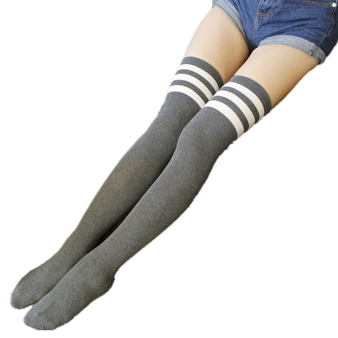 Womens Over Knee Stripe Socks Girls Thigh High Long Cosplay Socks Black White by Azue (Image #4)