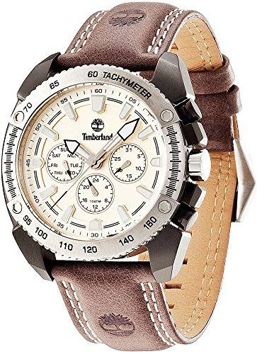 Timberland Mens Waterproof Outdoor Bennington Watch Brown Leather Strap Beige Multifunction Dial Stainless Steel Case Quartz Wristwatch