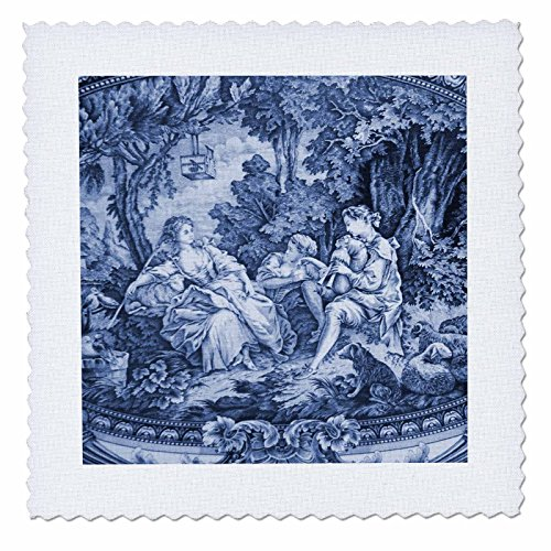 - 3dRose qs_34728_8 French Blue Toile I-Quilt Square, 20 by 20-Inch