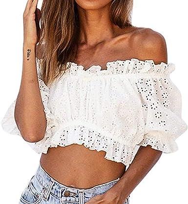 JURTEE Camisa Blanca Mujer Moda Hueco Perspectiva Fuera del Ombligo Tops Manga Corta Fiesta Blusa Camisetas: Amazon.es: Ropa y accesorios
