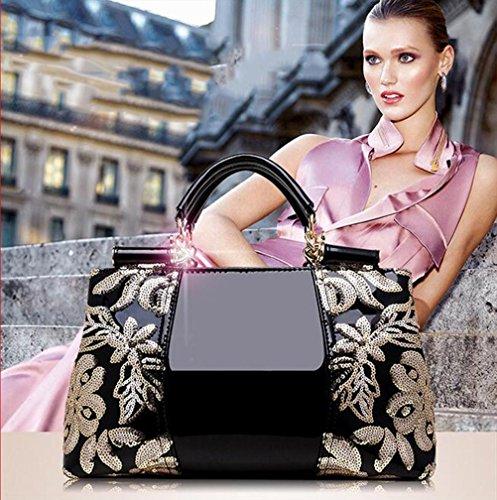 Main Verni Sac à Haut Princesse Mode Dame LGSVB Classique Sac 002 à Gamme Main à bandoulière Broderie Femmes Sac de Cuir xwBzqH