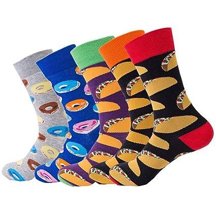 SIKESONG Tripulación De Moda Hombres Y Mujeres Calcetines De Algodón Tejido Caricatura Divertida Patineta Socks (