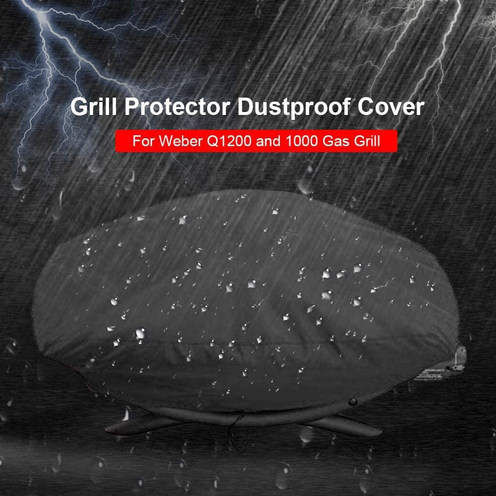 Q100 Series smilerr Waterproof Portable BBQ Gas Grill Cover For Weber Q1000 Dust-proof And UV Resistant Material Black supple