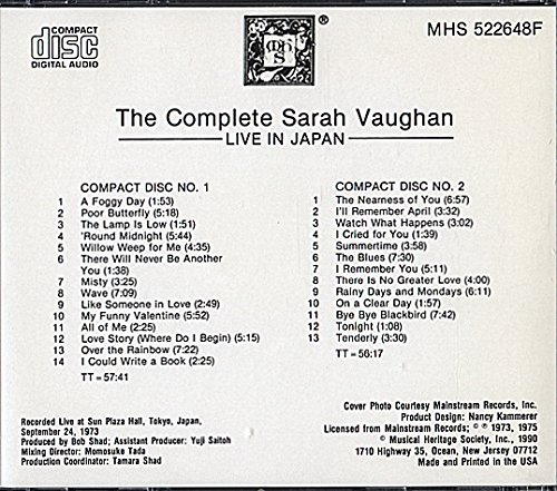 The Complete Sarah Vaughan: Live In Japan by © 1990 Musical Heritage Society, Inc.