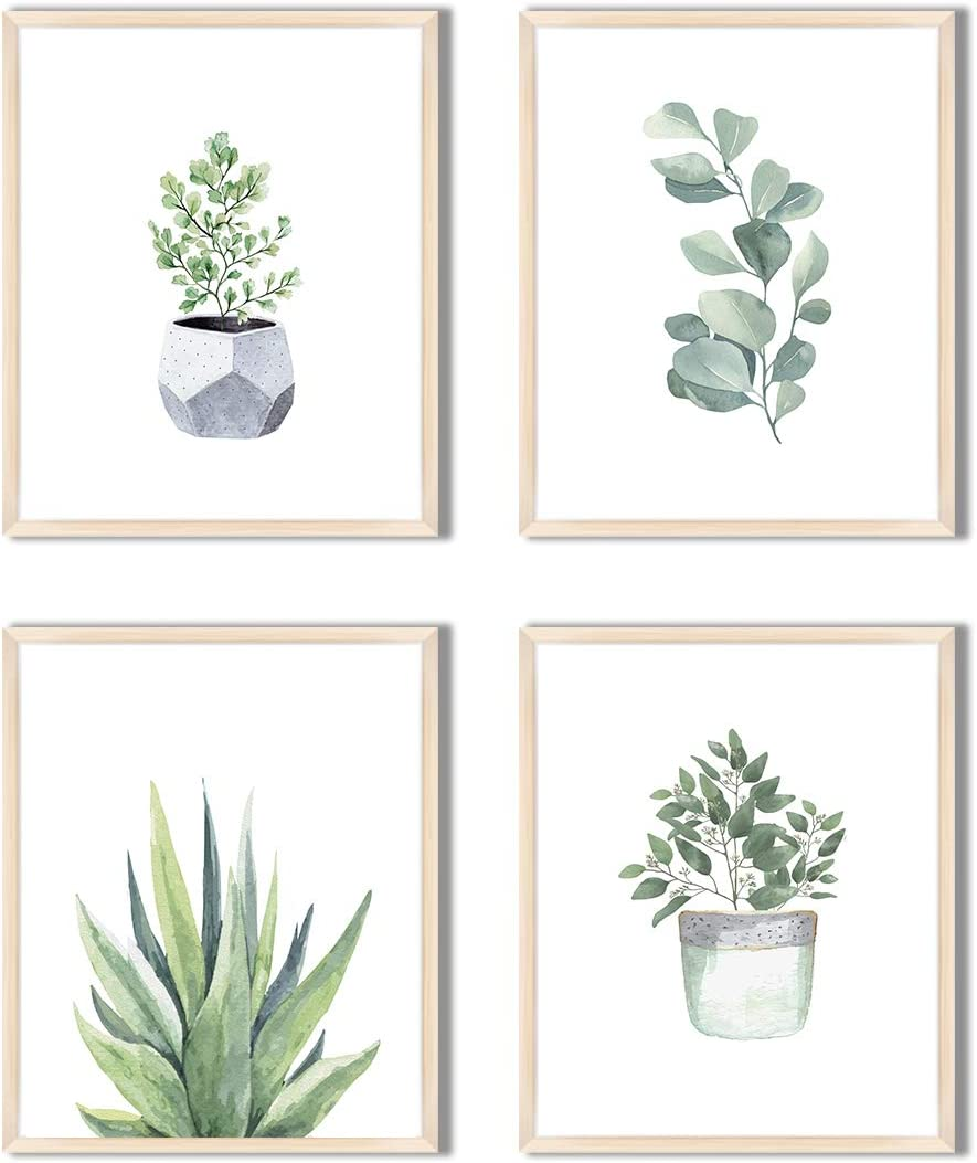 "Herzii Prints - Botanical Wall Art Decor Prints - Wall Pictures - Minimalist Floral Wall Decor - Bathroom Eucalyptus Decor Print Sets Greenery Plant Leaf Pictures - (8""x10"" UNFRAMED)"