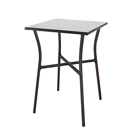 91433c766913 Image Unavailable. Image not available for. Color: Outdoor Square Rattan  Wicker Bar Height Table Patio Garden ...