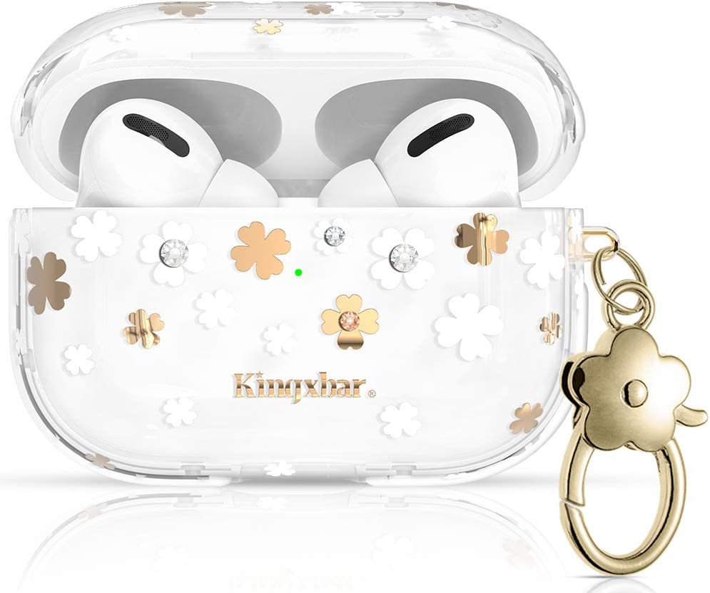 KINGXBAR UV Sensor Floral AirPods Pro Case Cover Shockproof TPU Frame Crystal from Swarovski Bling Protective Skin Cover with Keychain for Apple AirPods Pro Charging Case Chic Design for Girls Women