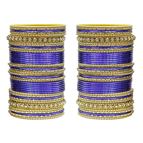 MUCH-MORE 86 Bangles Set of Multi Colour Amazing Collection of Bangles Set for Womens (Navy-Blue, 2.6) ()