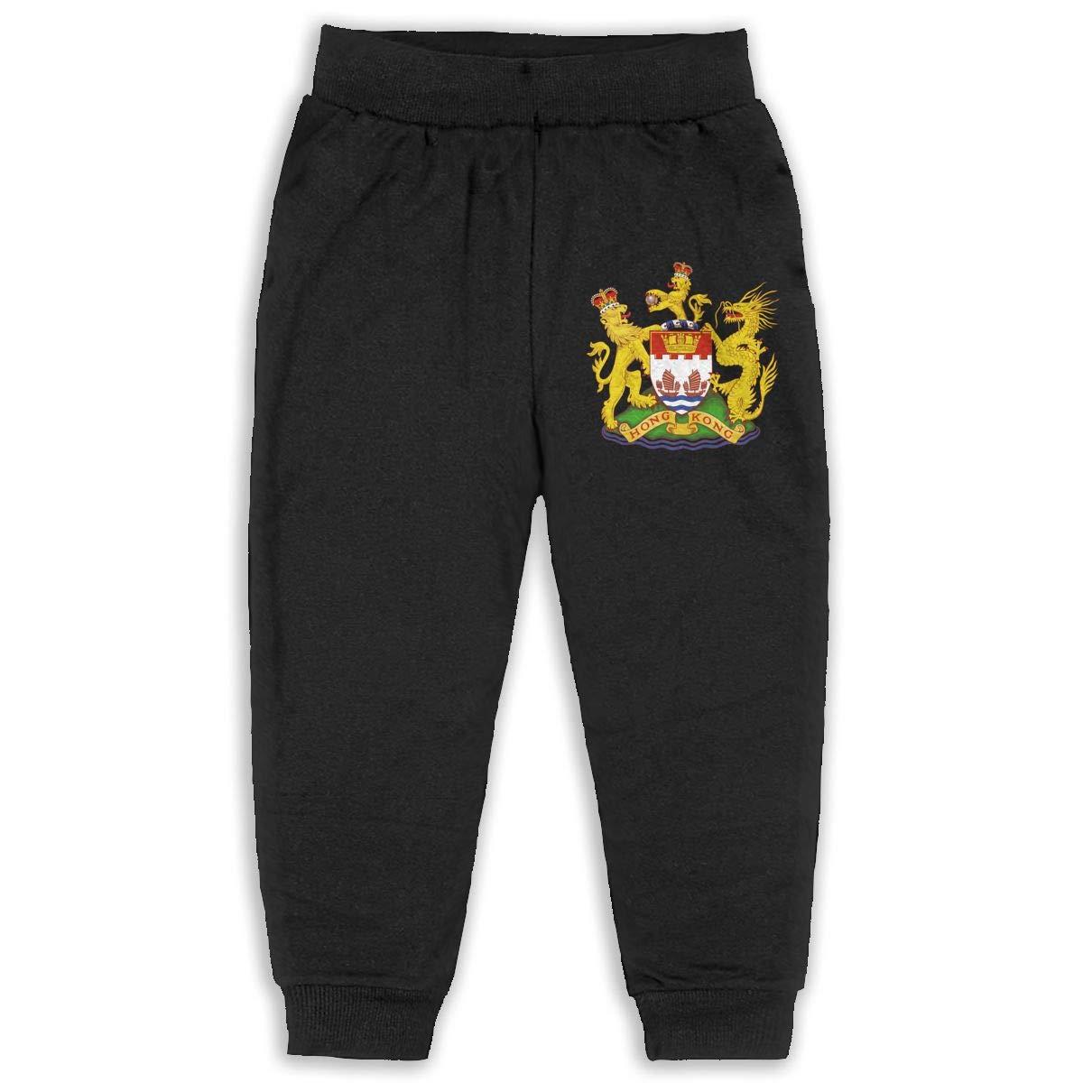 Coat of Arms of Hong Kong Children Cartoon Printed Soft Elastic Sweatpants Sport Jogger Active Pants