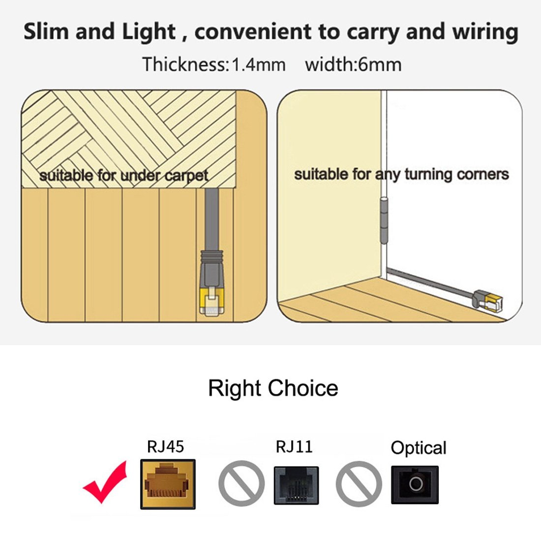 Color : Black Black Internet Cable 3m CAT6 Ultra-Thin Flat Ethernet Network LAN Cable Patch Lead RJ45 LAN Cable