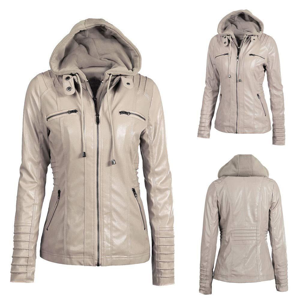 Lelili Clearance Women Zip Up Hoodie Jacket Leather Long Sleeve Removable Zipper Slim Hooded Coat Outwear Plus Size