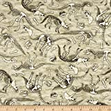 Jurassic Jungle Dinosaurs Skeletons Gray Fabric By The Yard